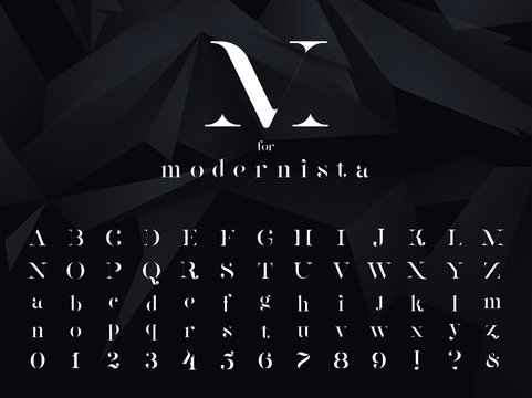 Modernista. Ultra modern minimalistic font, typeface for your logo, poster, book cover or any graphic design project. Vector illustration.