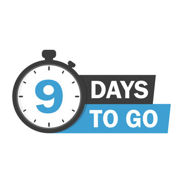 9 days to go label,sign,button. Vector stock illustration.