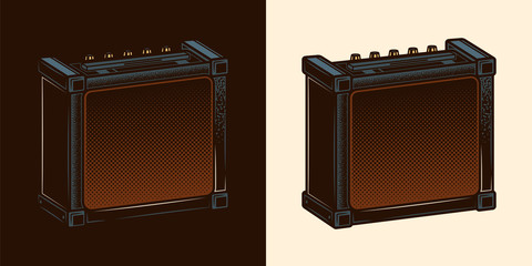 Speakers for Electric Guitar. Combo amplifier. Guitar amplifier. Original vector illustration in vintage style. Design element.