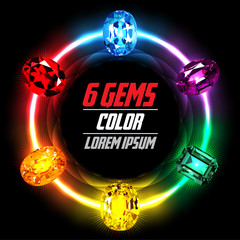 6 Gems on Abstract Circle Color background. Vector illustration