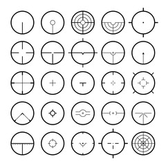 Aim icon set, various abstract target aiming scope reticles vector illustrations isolated on white, simple crosshairs a metaphor of concentration and focusing on a goal