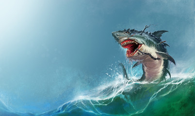 Big monster shark jumping out of the waves realistic illustration. Scary monster shark attacks.