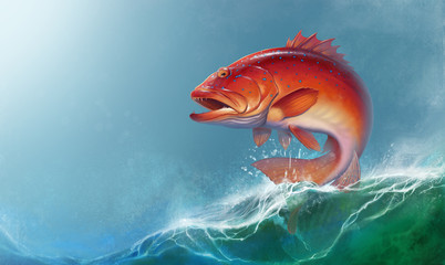 Coral trout on against the backdrop of sea waves. Leopard coral groupe, or leopard coral trou realistic illustration.