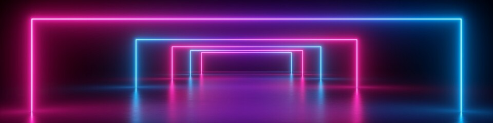 Foto auf Acrylglas Violett 3d render, abstract panoramic background, neon light, glowing lines, geometric shapes, ultraviolet spectrum, virtual reality, laser show