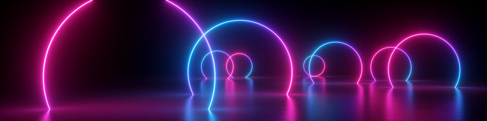 3d render, abstract panoramic background, neon light, glowing lines, round geometric shapes,...