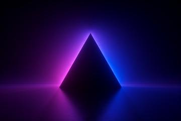 3d render, blue pink neon triangular frame, triangle shape, empty space, ultraviolet light, 80's...