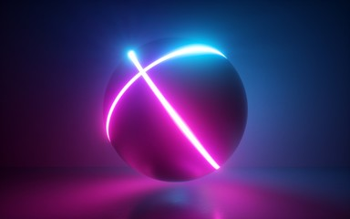 3d render, black ball with neon glowing lines, abstract background, sphere, globe model, laser show, esoteric energy, abstract background, ultraviolet spectrum