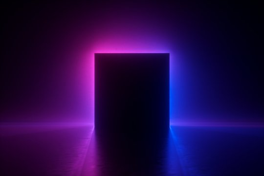 3d render, blue pink neon square frame, empty space, ultraviolet light, 80's retro style, fashion show stage, abstract background