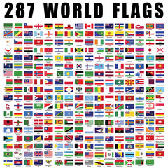 World flag flat icon collection with 287 all nations country flags.