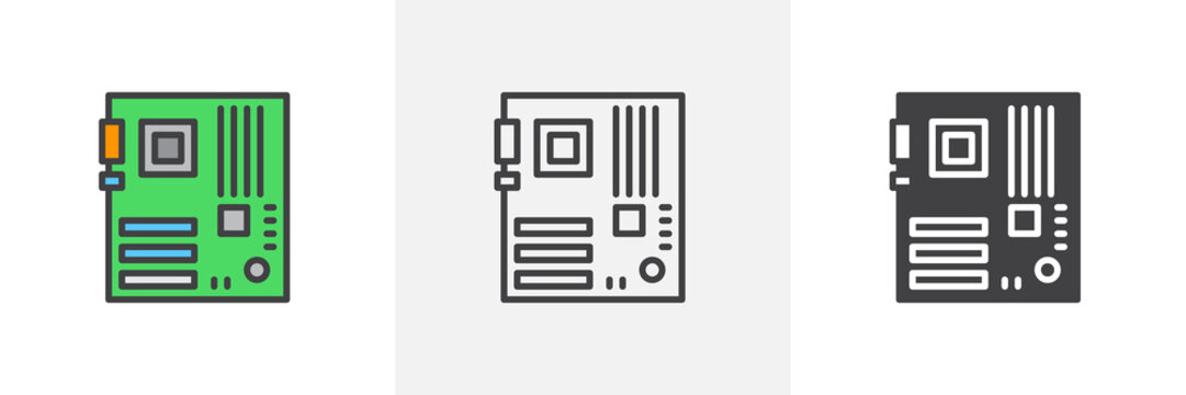 Computer hardware, motherboard icon. Line, glyph and filled outline colorful version, motherboard slot outline and filled vector sign. Symbol, logo illustration. Different style icons set