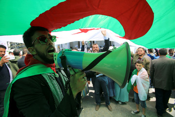 A demonstrator uses a bullhorn to shout protest slogans during a May Day march on Labour Day in Algiers