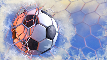 Soccer ball and Goal net in the blue sky illustration combined pencil sketch and watercolor sketch. 3D illustration. 3D CG. High resolution.