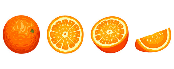 Delicious orange fruit vector design illustration isolated on white background Fotomurales