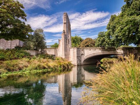 Bridge of Remembrance and Cashel St Bridge, Christchurch, New Zealand