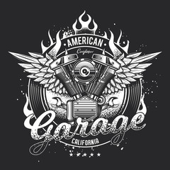 Vintage motorcycle emblem motor and wings on the background of fire. Original vector illustration
