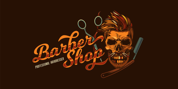 Original vector barbershop logo in vintage style. Skull with mustache and hair, hairdressing scissors, straight razor