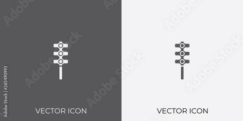 Light & Dark Gray Icon of Traffic Light For Mobile, Software