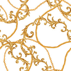 Chaîne dorée glamour style baroque sans soudure de fond.