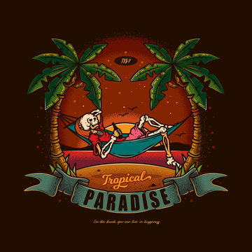 Original vector illustration in vintage style. Skeleton lying in a hammock with a bottle of beer in his hands, against the palm trees, the sea and sunset