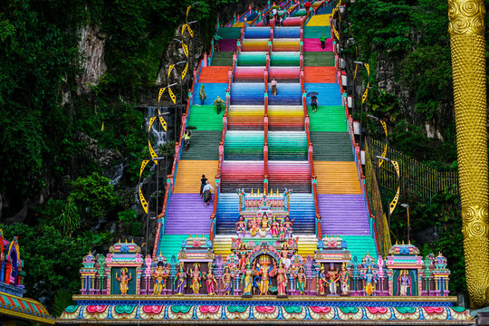 Colorful steps at the entrance to Batu cave in Malaysia.