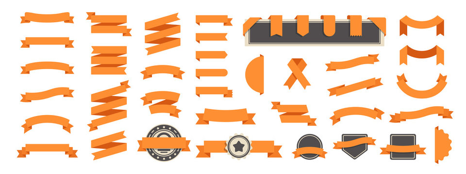 Ribbon banner set isolated on a white background. Orange color. Simple modern cute design. Labels, bookmarks and tags. Flat style vector illustration. Big collection.