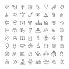 Vector religion icons set thin style. Vector