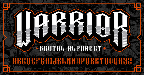 Warrior font, brutal typeface for themes such as biker, tattoo, rock and roll and many other. Fototapete