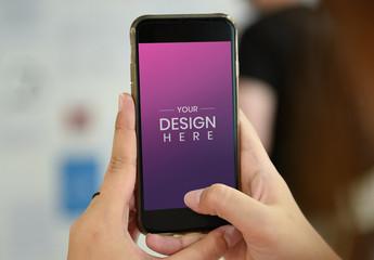 Hands Holding Smartphone Mockup
