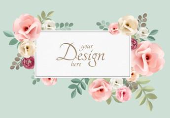Vintage Flower Frame Design Paper Mockup