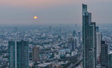 Sunset view in the Skybar in Bangkok, Thailand