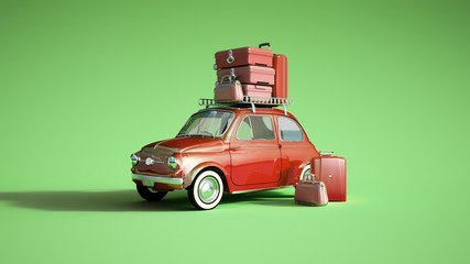 Poster Vintage voitures Retro car on a trip red green