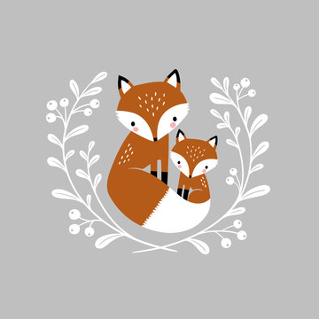 Cute hand drawn vector foxes in wreath. Perfect for tee shirt logo, greeting card, poster, invitation or print design.