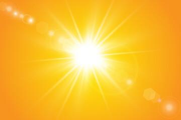 Warm sun on a yellow background. Leto.bliki solar rays Wall mural