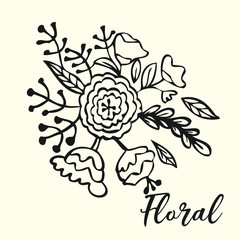 hand drawn design Floral set flowers, leaves  elements in sketch style. Perfect for invitations, greeting cards, tattoo, prints