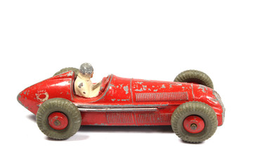 Vintage Toy Racing Cars On White Background