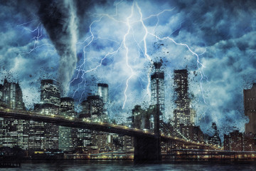 New York City and Brooklyn Bridge during the heavy storm, rain and lighting in New York, creative picture.