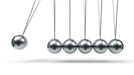 Newton's Cradle with silver balls. 3d illustration Wall mural