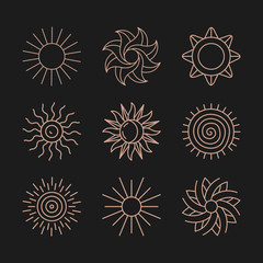 Vector set of abstract logo designs - sun and summer symbols