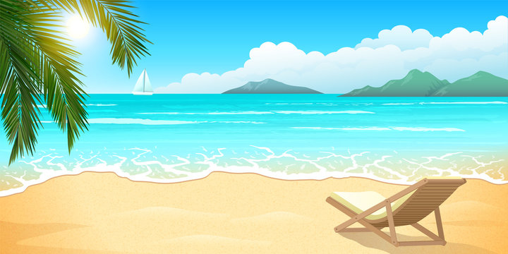 Sand beach with palm and chaise lounge, clear blue water, summer paradise