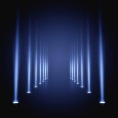 Dark empty runway with spotlights, 3d illustration