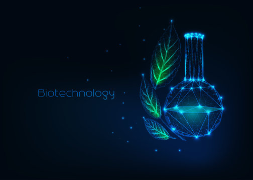 Futuristic biotechnology concept with glowing low polygonal chemical beaker and green leaves.