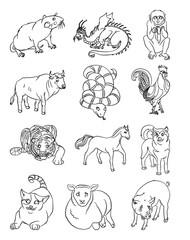 Twelve funny animals of the Chinese horoscope