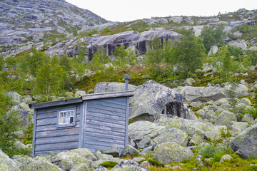 Trolltunga, Odda, Norway: 21. June 2016, Mountain cabins and houses on the hiking trail to the world famous Trolltunga rock, beautiful Scandinavia, Europe, nature lovers, outdoors, active lifestyle