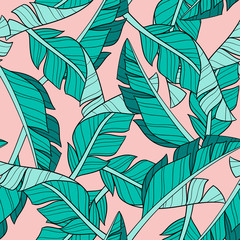 Hand drawn banana leaves. Seamless vector pattern on pink background. Perfect for fabric, wallpaper or wrapping paper.