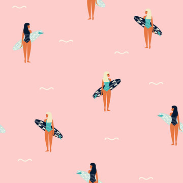 Seamless pattern with girl and surfboard. Summer trendy print. Vector hand drawn illustration.