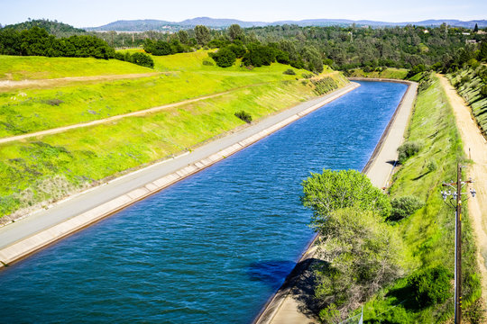 The Thermalito Power Canal in Oroville, Butte County, North California