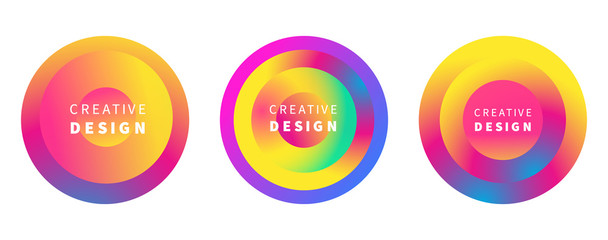 Vector modern futuristic colorful cover circles set
