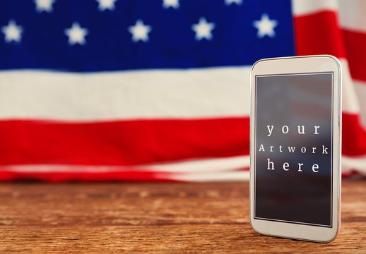 Smartphone with American Flag in Background Mockup