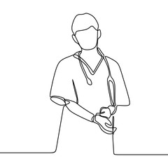 Nurse continuous line drawing medicinal doctor one hand drawn isolated on white background minimal design