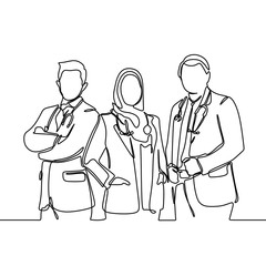 Three doctors one continuous line drawing standing with medicinal tools isolated on white background